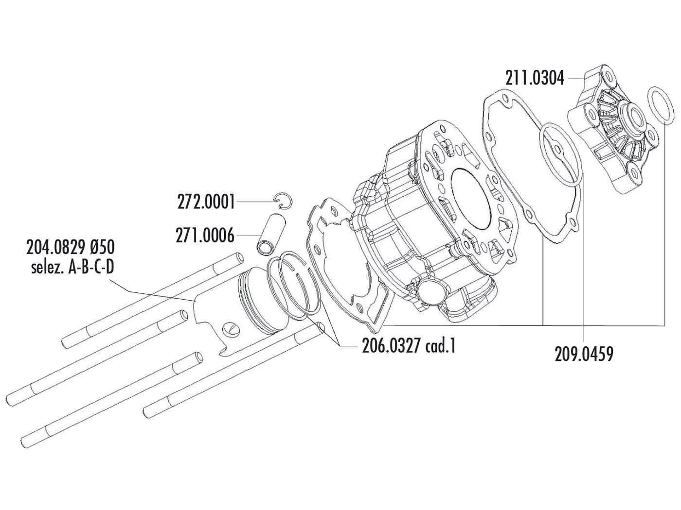 Zylinderkit Polini Aluminium Racing 80ccm 50mm für Piaggio