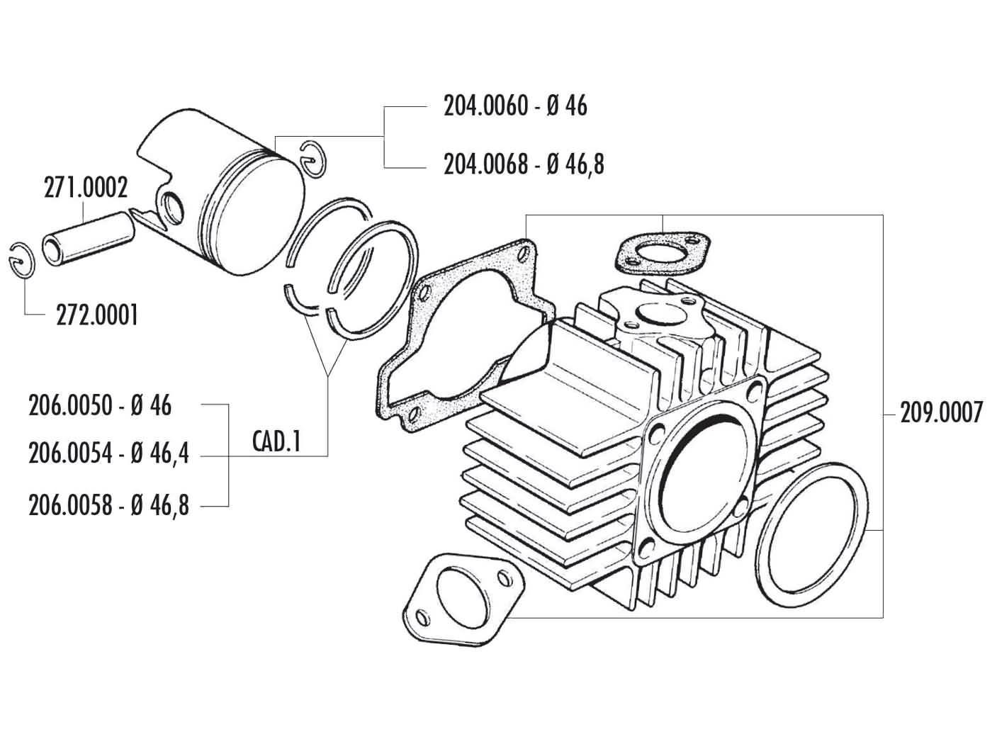Zylinderkit Polini Grauguss Sport 70ccm 46mm für Garelli