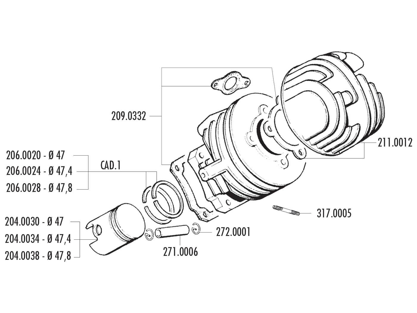 Zylinderkit Polini Grauguss Racing 75ccm 47mm für Ape 50